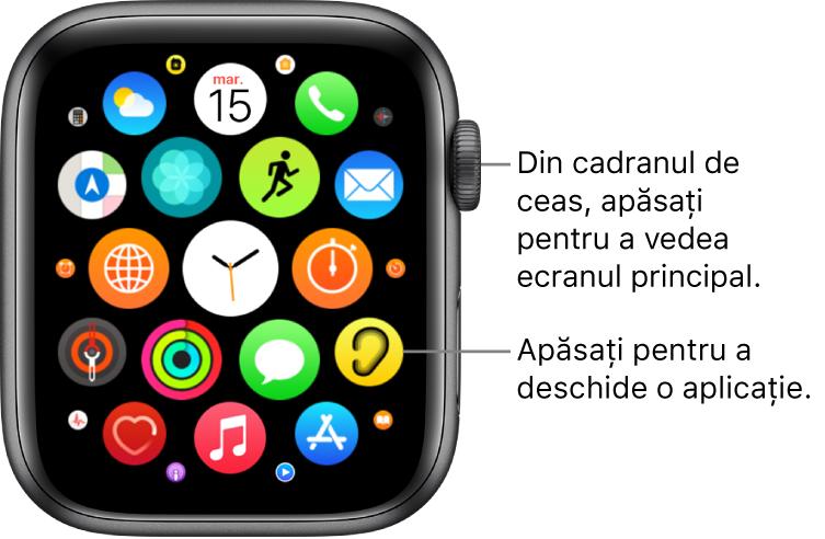 Ecranul principal în vizualizarea grilă pe Apple Watch, cu aplicațiile sub formă de grup. Apăsați pe o aplicație pentru a o deschide. Trageți pentru a vedea mai multe aplicații.