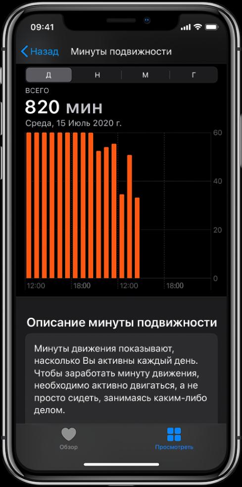 На экране iPhone показаны минуты двигательной активности. Внизу находятся вкладки «Обзор» и«Просмотр». Выбрана вкладка «Просмотр».