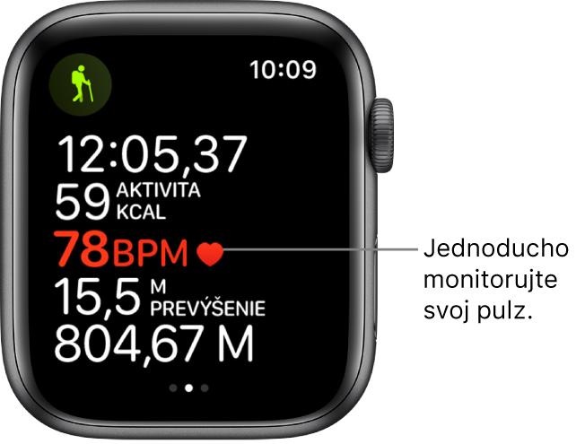 Obrazovka zobrazujúca štatistiky tréningu vrátane uplynulého času atepu.