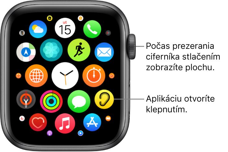 Plocha hodiniek AppleWatch vzobrazení Mriežka sapkami vjednom zhluku. Klepnutím na aplikáciu ju otvoríte. Potiahnutím zobrazíte ďalšie aplikácie.
