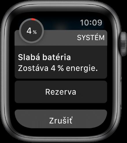Upozornenie na vybitú batériu obsahuje tlačidlo, pomocou ktorého môžete zapnúť režim Rezerva.