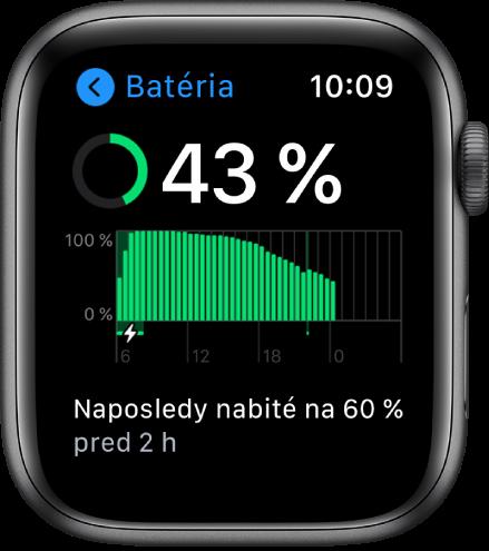 Na obrazovke Batéria vidíte údaj ozostávajúcej energii batérie, graf využívania batérie včase ainformáciu otom, kedy bola batéria naposledy nabitá na 60percent.