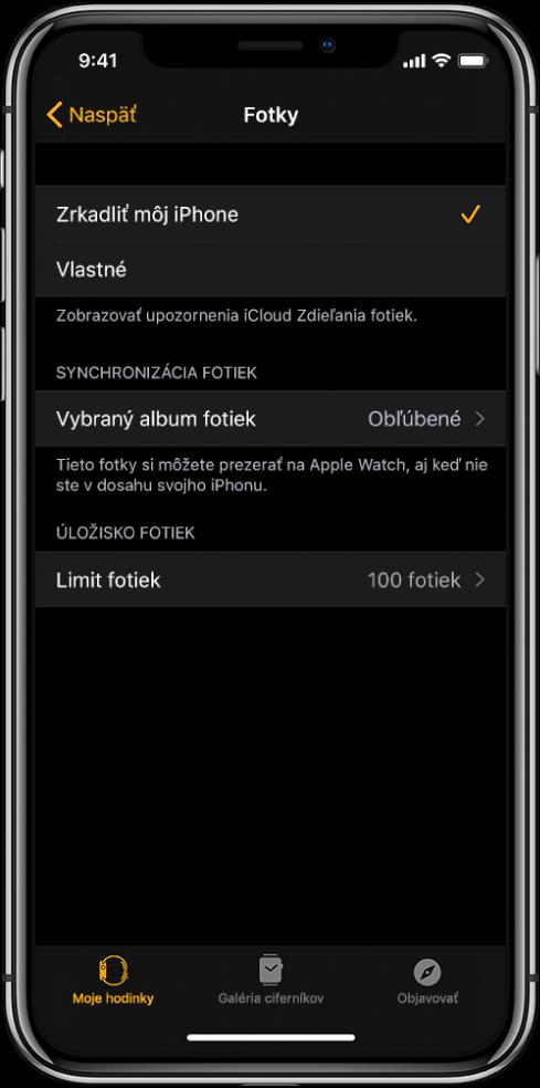 Nastavenia fotiek vapke Apple Watch na iPhone. Vstrede sa nachádza nastavenie Synchronizácia fotiek apod ním je nastavenia Limit fotiek.