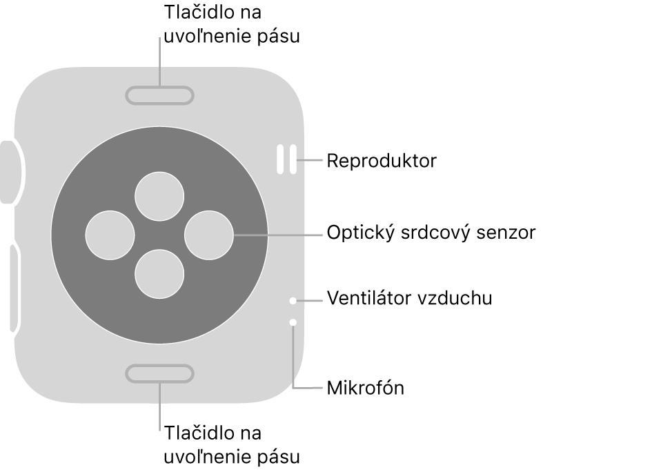 Zadná strana hodiniek AppleWatch Series3. Navrchu anaspodku sa nachádzajú tlačidlá na uvoľnenie pásu. Vstrede sú umiestnené optické srdcové senzory anaboku zhora nadol sa nachádzajú reproduktor, prieduchy amikrofón.