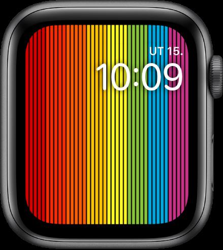 Digitálny ciferník Pride zobrazujúci vertikálne dúhové pruhy ačas vpravo hore.