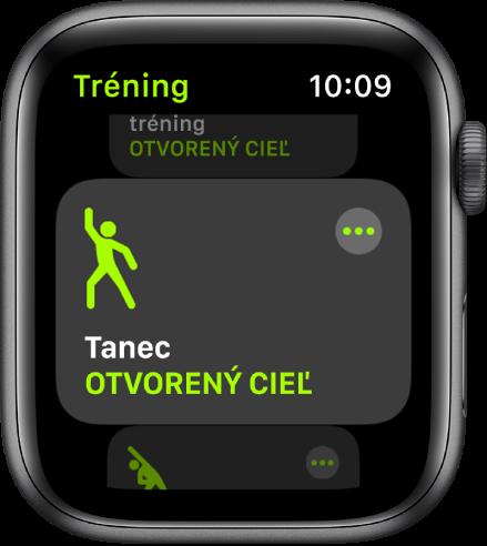 Obrazovka aplikácie Tréning so zvýrazneným tréningom Tanec.