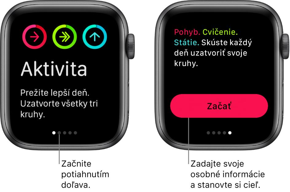 Dve obrazovky: Prvá zobrazuje úvodnú obrazovku aplikácie Aktivita, druhá ukazuje tlačidlo Začať.
