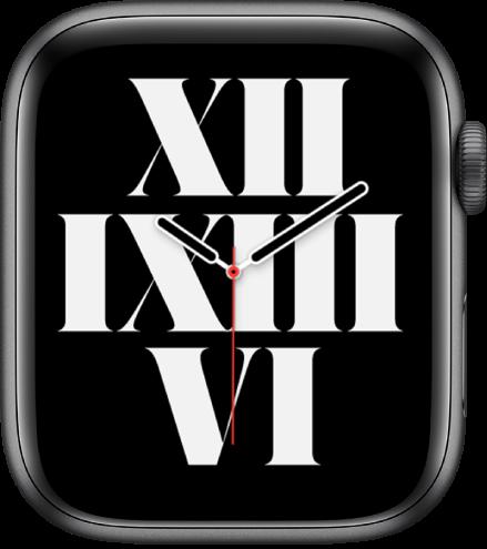 Typografický ciferník, ktorý zobrazuje čas pomocou rímskych číslic.
