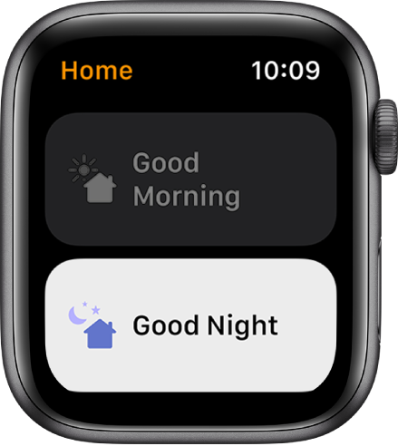 Aplikacija Home (Domov) v uri Apple Watch prikazuje dva pripomočka – Good Morning (Dobro jutro) in Good Night (Lahko noč). Izbrana je možnost Good Night (Lahko noč).