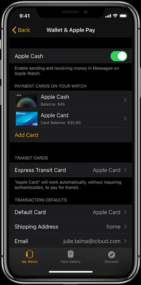 Zaslon aplikacije Wallet (Denarnica) in storitev ApplePay v aplikaciji AppleWatch v napravi iPhone. Zaslon prikazuje kartice, ki so dodane v uro AppleWatch, kartico, ki ste jo izbrali za uporabo pri ekspresnem prevozu, in privzete nastavitve za transakcijo.