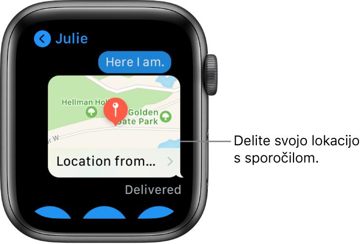 Zaslon aplikacije Messages (Sporočila), ki prikazuje zemljevid s pošiljateljevo lokacijo.