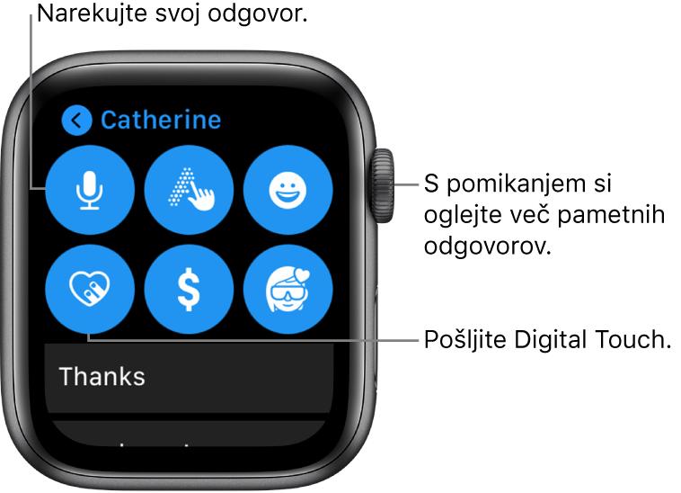 Zaslon odgovora, ki prikazuje gumbe Dictate (Narekuj), Scribble (Zapiši), Digital Touch, Apple Pay (Apple Pay) in Memoji (Memoji). Pametni odgovori so spodaj. Za ogled več pametnih odgovorov zavrtite gumb Digital Crown.