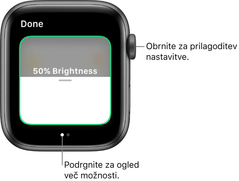 Aplikacija Home (Dom), ki prikazuje nastavitev svetlosti žarnice.