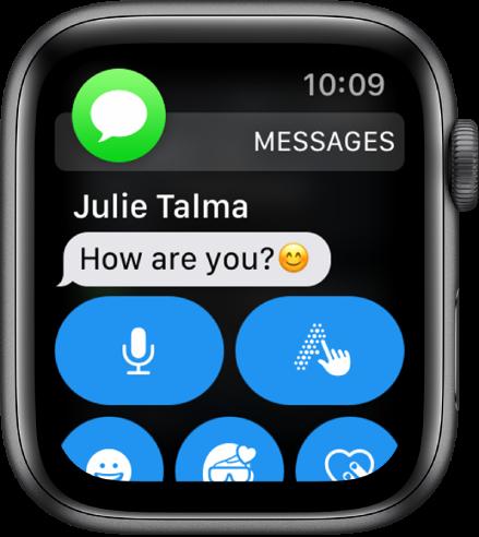 Obvestilo o sporočilu z ikono Messages (Sporočila) zgoraj levo in s sporočilom pod njo.