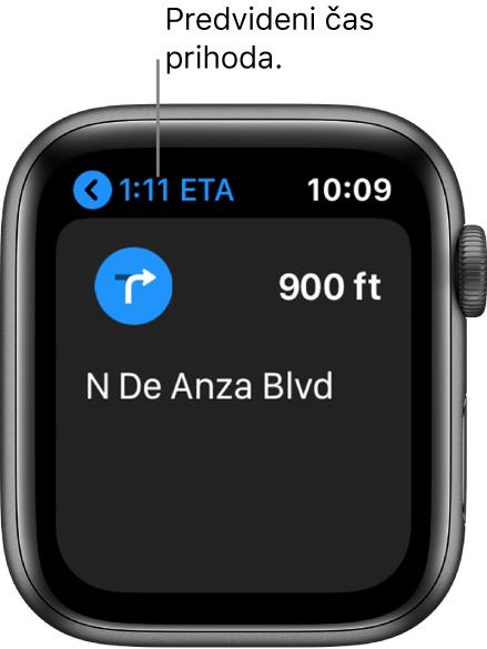 Aplikacija Maps (Zemljevidi) prikazuje predvideni čas prihoda zgoraj levo, ime ulice, kjer naslednjič zavijete, in razdaljo do tega zavojem.