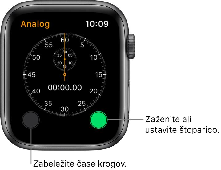 Zaslon analogne štoparice. Tapnite desni gumb za začetek in konec štopanja ter levega za beleženje trajanja kroga.