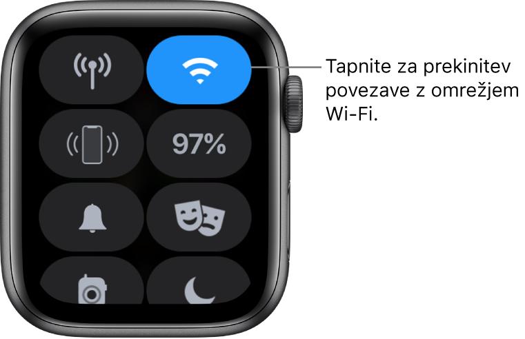 Control Center (Središče za nadzor) v uri AppleWatch (GPS + mobilno omrežje) z gumbom Wi-Fi zgoraj desno. Oblaček se glasi »Tapnite, da prekinete povezavo z omrežjem Wi-Fi«.