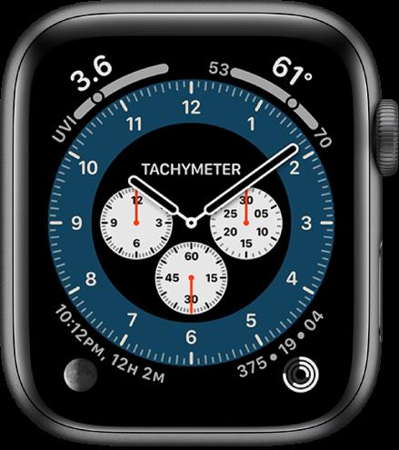 Številčnica Chronograph Pro (Profesionalni kronograf) prikazuje pripomoček Tachymeter (Tahimeter).