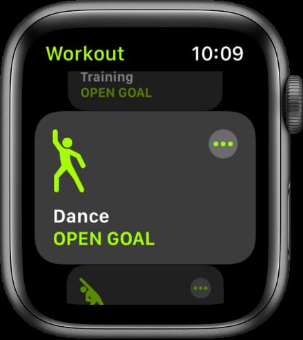 Zaslon Workout (Vadba) z označeno vadbo Dance (Ples).