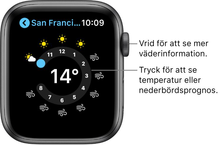 Appen Väder visar prognosen per timme.