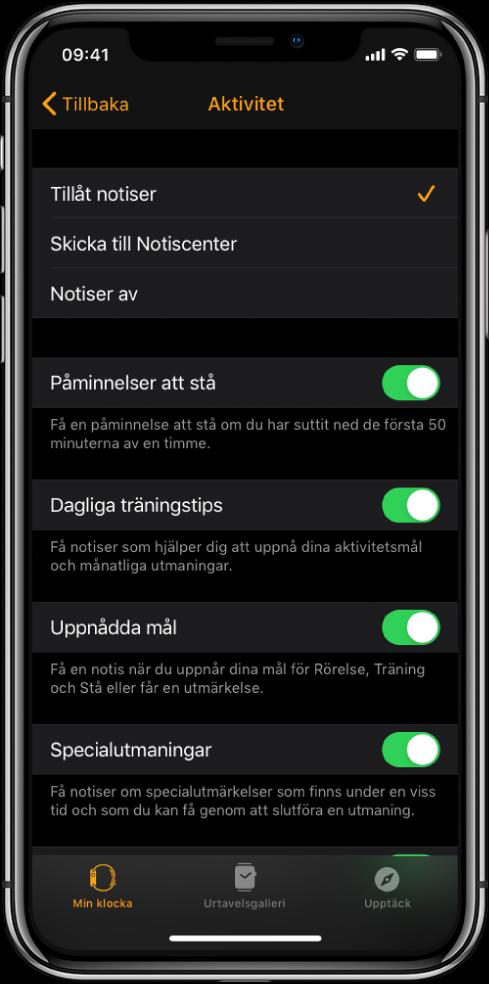 Aktivitetsskärmen i AppleWatch-appen där du kan anpassa vilka notiser du vill få.