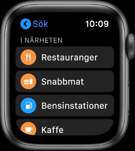 Appen kartor som visar en lista över kategorier: Restauranger, Snabbmat, Bensinstationer Kaffe med mera.