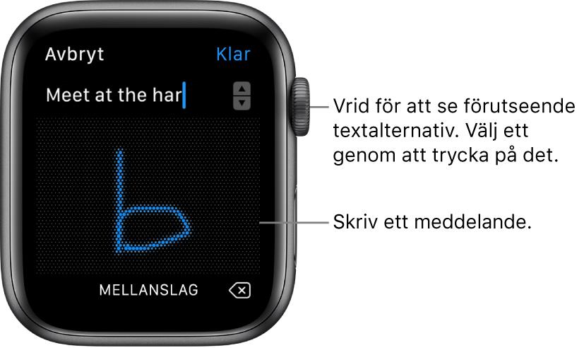 Skärmen där du skriver ett svar för hand. Föreslagna textalternativ visas överst och du skriver meddelandet i mitten.