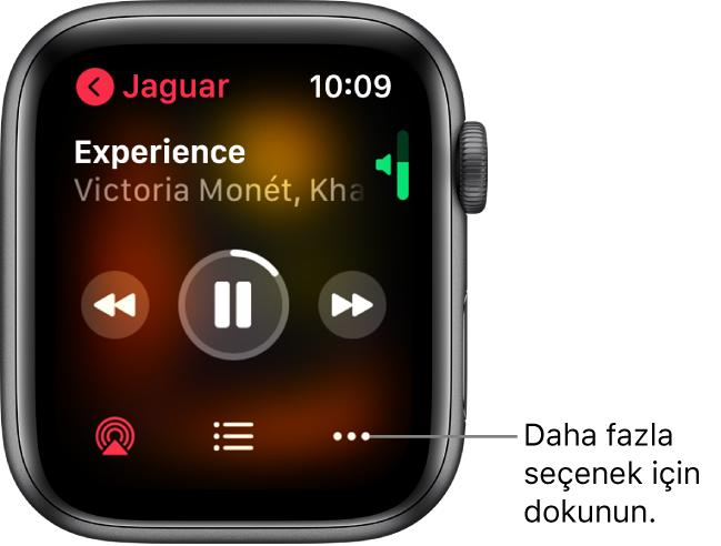 Müzik uygulamasında Şu Anda Çalınan ekranı. Albüm adı sol üsttedir. Parça adı ve sanatçı en üstte, çalma denetimleri ortada, AirPlay, oarça listesi ve Seçenekler düğmeleri altta görünür.