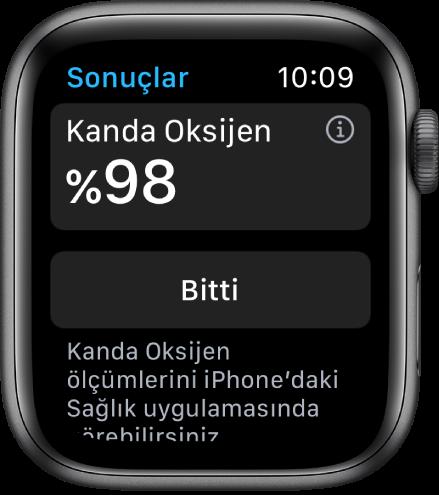 Kanda oksijen doygunluğunu yüzde 98'in üzerinde gösteren Kanda Oksijen sonuç ekranı. Bitti düğmesi alt tarafta.