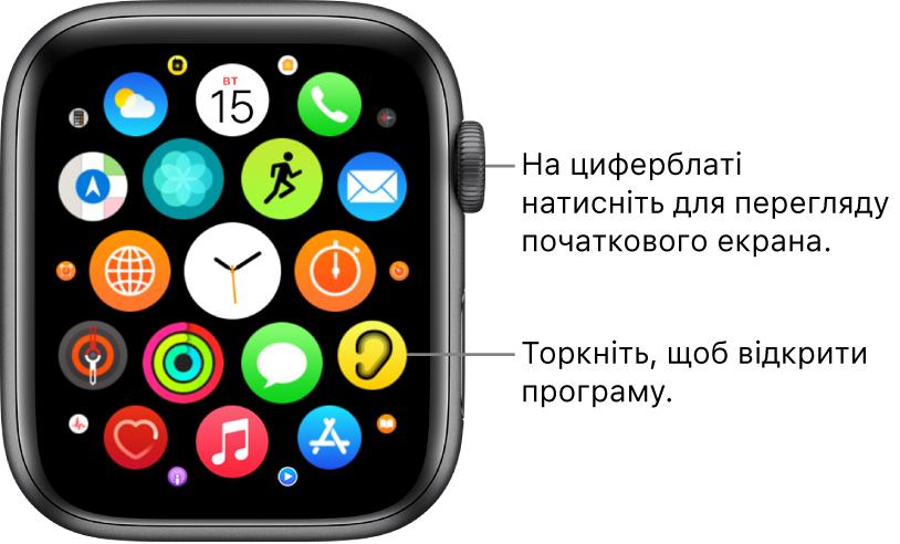 Початковий екран у виді сіткою на AppleWatch, програми представлені у вигляді групи. Торкніть програму, щоб відкрити її. Перетягніть, щоб побачити інші програми.