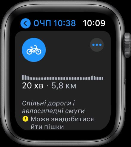 AppleWatch з веломаршрутами, зокрема з оглядом змін у висоті вздовж маршруту, очікуваним часом і відстанню, а також нотатками щодо будь-яких перешкод, які можуть виникнути на шляху.