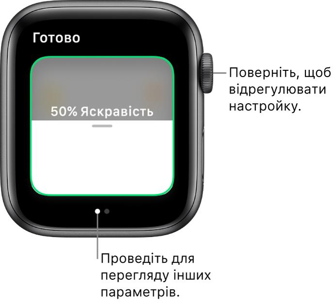 Екран програми «Дім», що показує параметри яскравості лампочок.