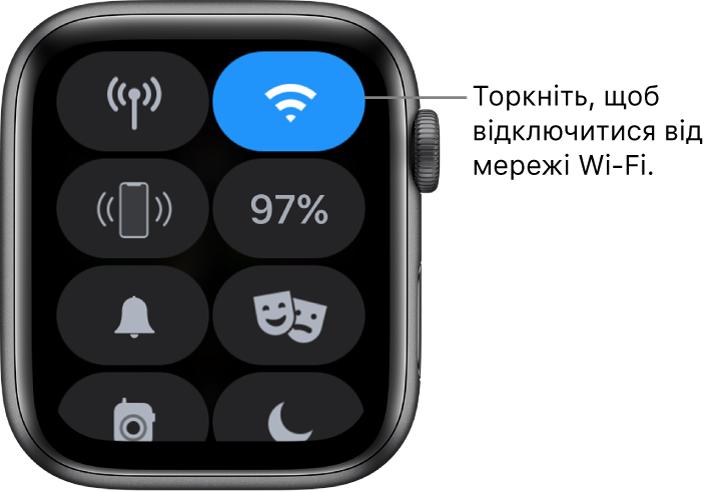 Центр керування на AppleWatch (GPS+ стільниковий зв'язок) із кнопкою Wi-Fi угорі справа. Напис на виносці: «Торкніть, щоб від'єднатися від Wi-Fi».