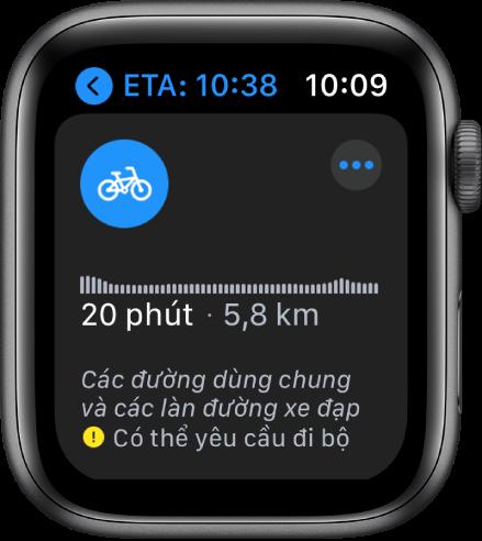 Ứng dụng Bản đồ đang hiển thị tổng quan về chỉ đường đi xe đạp, bao gồm thay đổi độ cao, thời gian di chuyển ước tính và quãng đường.