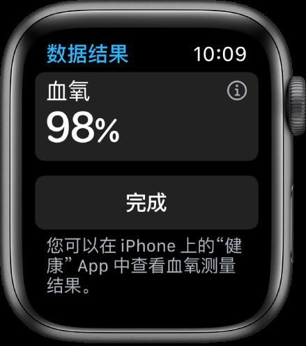 """血氧结果屏幕显示血氧饱和度为 98%。底部为""""完成""""按钮。"""