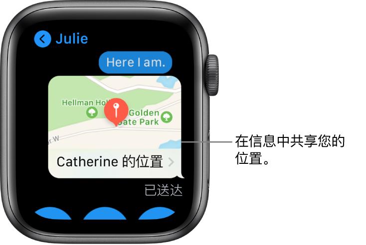 """在地图中显示发送者位置的""""信息""""屏幕。"""