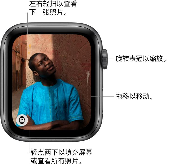 """查看照片时,旋转数码表冠可进行缩放,拖移可进行移动,或者轻点两下可在查看所有照片和使该照片填充整个屏幕间切换。左右轻扫来查看下一张照片。轻点左下方的""""表盘""""按钮以创建照片表盘。"""