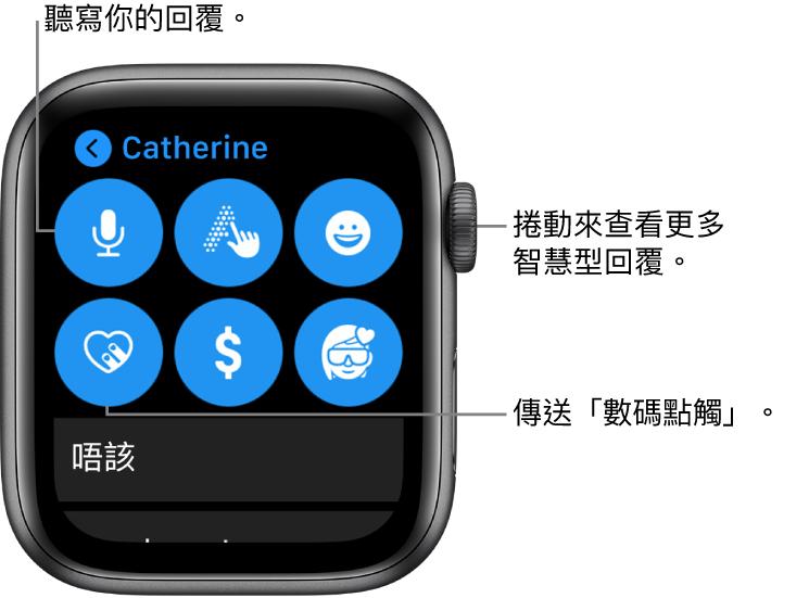 顯示「聽寫」、「隨手寫」、「表情符號」、「數碼點觸」、Apple Pay 以及 Memoji 按鈕的回覆畫面。其下方為智慧回覆。轉動數碼錶冠以查看更多智慧回覆。