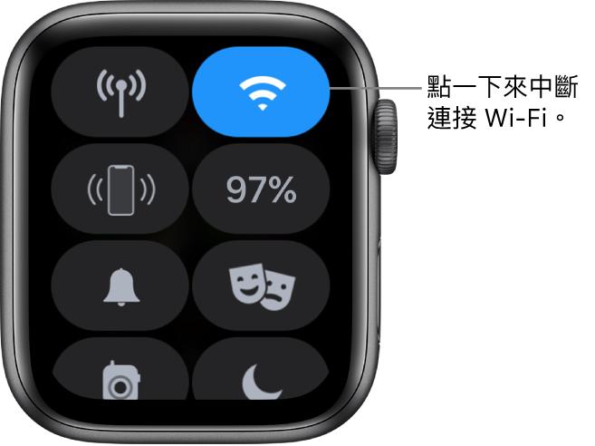 AppleWatch(GPS + 流動網絡)上的「控制中心」,Wi-Fi 按鈕位於右上方。説明文字為「點一下中斷 Wi-Fi 連線。」