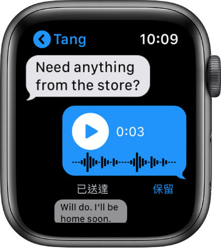 「訊息」畫面顯示對話。中間的回覆是語音訊息帶有播放按鈕。
