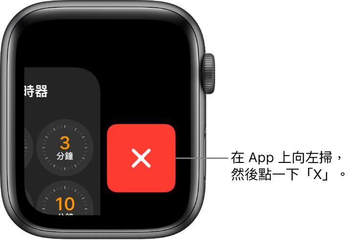 在 App 上向左掃後的 Dock 畫面,X 按鈕在右側。