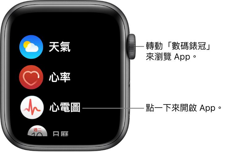 Apple Watch 上「列表顯示方式」的主畫面,App 以列表方式顯示。點一下 App 即可開啟。捲動即可查看更多 App。