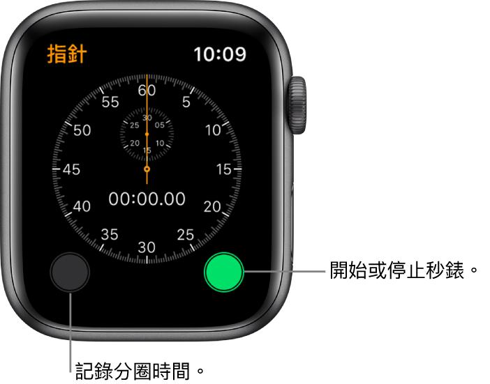 指針秒錶畫面。點一下右側按鈕即可開始及停止,以及左側按鈕記錄分圈時間。