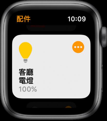 「家庭」App 顯示燈具配件。點一下配件右上角的圖像來調整設定。