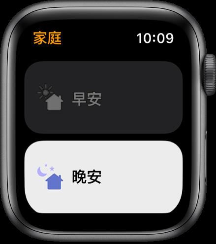 Apple Watch 上的「家庭」App 顯示兩個情境:「早安」和「晚安」。「晚安」已反白。