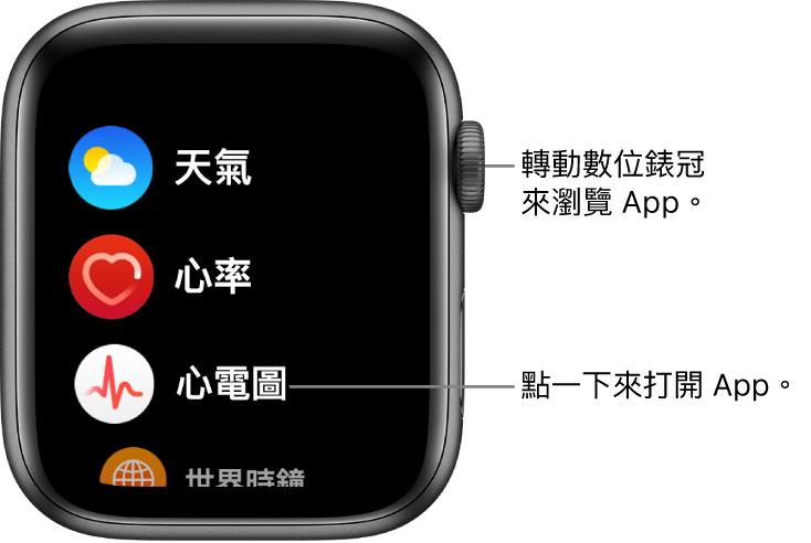 Apple Watch 上列表顯示方式的主畫面,App 以列表顯示。點一下 App 來打開。捲動來查看更多 App。