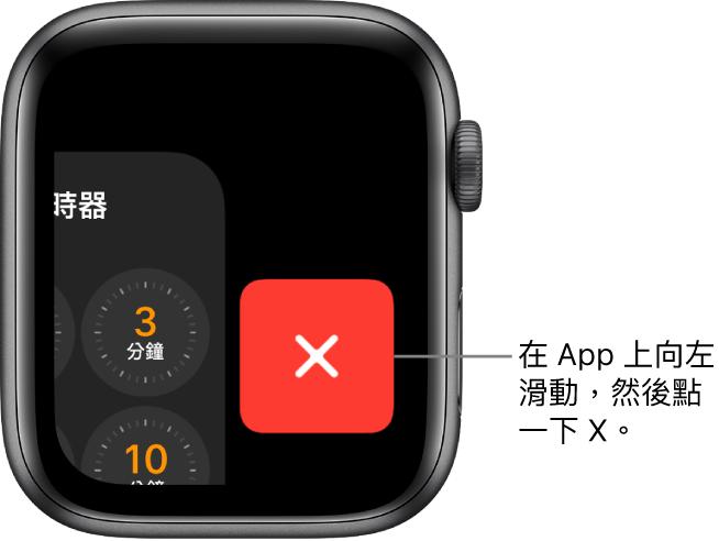 Dock 畫面,在您從 App 向左滑動後,X 按鈕顯示在右側。