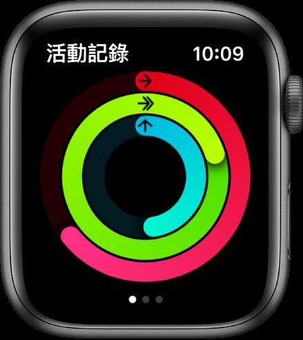 「活動記錄」畫面顯示三個圓圈:「活動」、「運動」和「站立」。