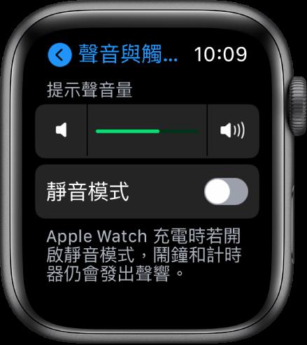 AppleWatch 上的「聲音與觸覺回饋」設定,最上方是「提示聲音量」滑桿,其下方是「靜音模式」按鈕。