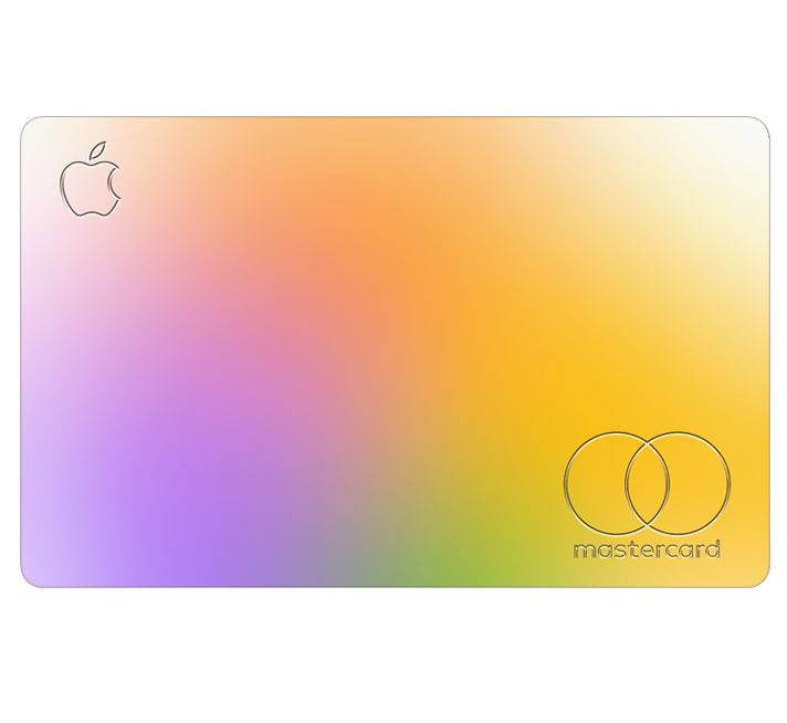 A colorful Apple Card. The Apple logo and Mastercard logo are visible.
